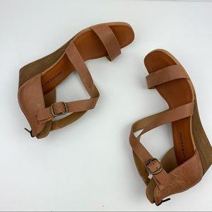 Lucky Brand Caisby Leather Wedge Sandal